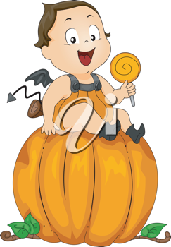 Illustration of a Baby Dressed as a Pumpkin