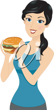 Illustration of a Girl About to Eat a Burger