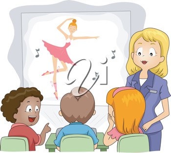 Illustration of Kids Watching a Show Through a Projector
