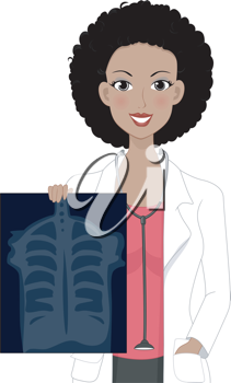 Illustration of a Girl Holding an X-ray Result