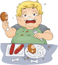 Illustration of an Overweight Boy Binge Eating