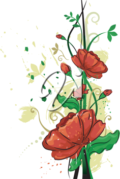 Illustration Featuring Red Poppies