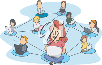 Illustration of People Demonstrating Social Networking