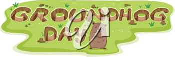 Illustration of Burrows Forming the Word Groundhog Day