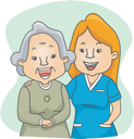 Illustration of a Nurse and Her Elderly Patient