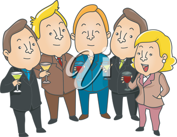 Royalty Free Clipart Image of People Toasting