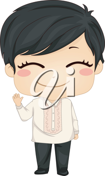 Royalty Free Clipart Image of a Filipino Boy in Traditional Clothing