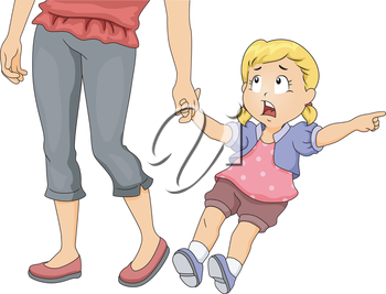 Illustration of a Little Girl Pulling Her Mother's Hand While Pointing at Something