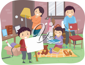 Illustration of a Family Sorting Items for a Garage Sale