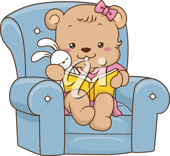 Illustration of a Cute Baby Bear Reading a Storybook