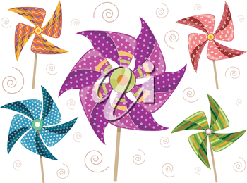 Illustration of Colorful Pinwheels with Different Designs