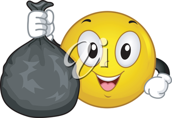 Illustration of a Smiley Holding a Thrash Bag Full of Garbage