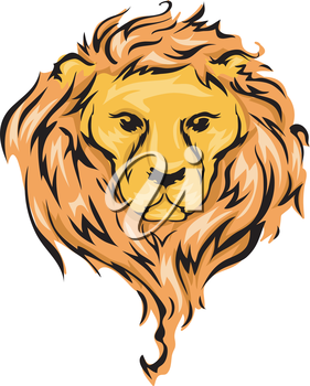 Illustration Featuring a Lion with Flowing Mane
