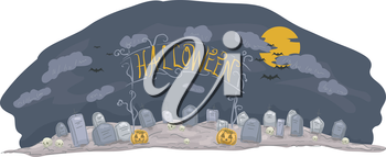 Banner Illustration Featuring a Halloween-Themed Graveyard