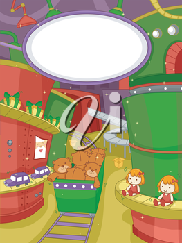 Illustration Featuring a Scene at a Christmas Toy Factory