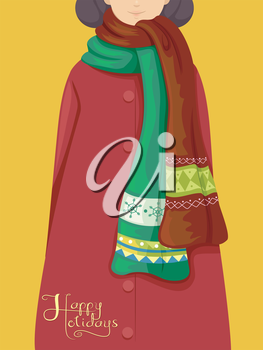Illustration Featuring a Girl Wearing Christmas-Themed Scarves