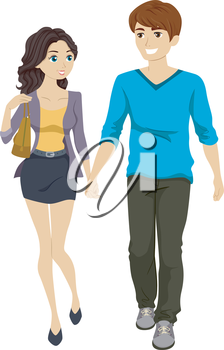 Illustration of a Couple Walking While Holding Hands