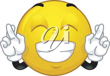 Mascot Illustration of a Smiley Crossing its Fingers for Luck