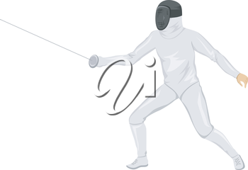 Illustration of a Fencer Holding a Fencing Stick