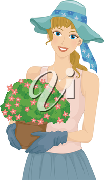 Illustration of a Girl Carrying a a Flower Pot