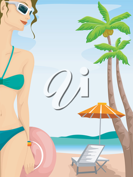 Illustration of a Sexy Girl in a Two Piece Bikini Relaxing in the Beach