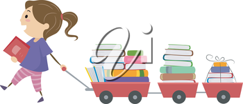 Stickman Illustration of a Little Girl Pulling a Cart Full of Book