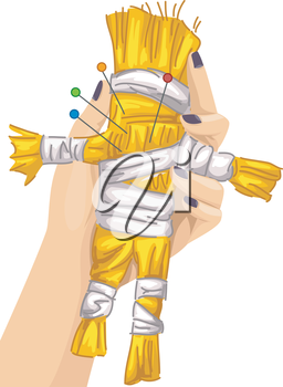 Illustration of a Voodoo Doll with Needle Piercings All Over its Body