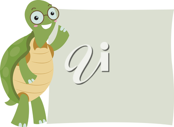 Illustration of a Turtle Standing Beside a Blank Board