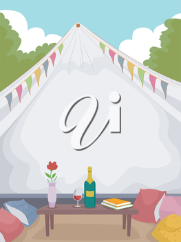 Illustration of a Fancy Tent with a Bottle of Wine Sitting on a Table in Front