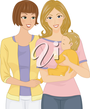 Illustration of a Woman Visiting Her Friend and Her Baby