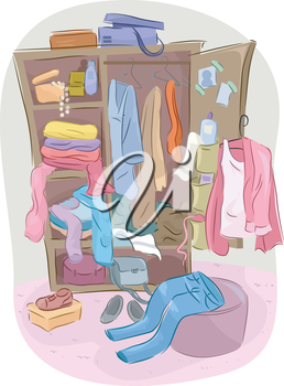 Illustration of a Closet Overflowing with Clutter