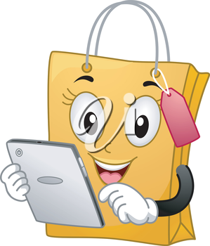 Mascot Illustration of a Shopping Bag while checking a tablet