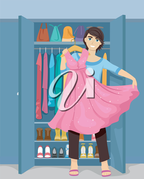Illustration of a Cross Dressing Teenage Guy Trying a Dress On