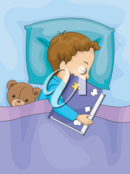 Illustration of a Boy Hugging a Book While Sleeping