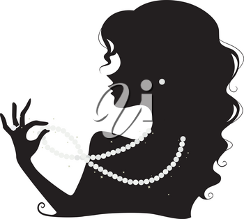 Illustration Featuring the Silhouette of a Woman Wearing a Pearl Necklace, Earring and Ring