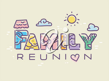 Illustration of a Family Reunion Lettering with Different Face Doodles on the Letters