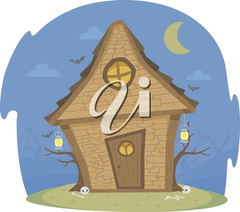 Illustration of a Witch House at Night with Open Lights Under the Moon