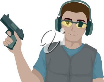 Illustration of a Teenage Guy Holding a Gun and Wearing Goggles and Earphones. Target Shooting