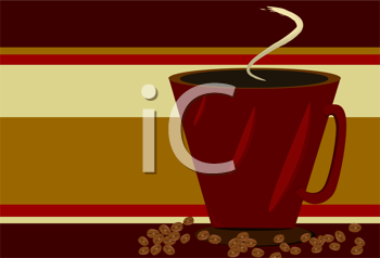 Royalty Free Clipart Image of a Cup of Coffee With Beans Beside It