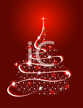 Royalty Free Clipart Image of a Christmas Tree Made of Stars and Ribbon