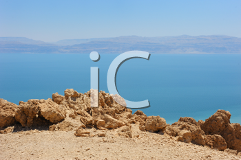 Royalty Free Photo of a View of the Dead Sea From the Slopes of the Judean Mountains in the Area of the Reserve of Ein Gedi