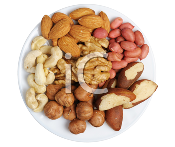 Royalty Free Photo of a Variety of Nuts on a Plate on a White Background