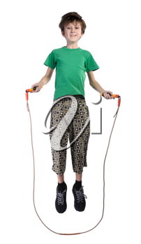 A boy in a green shirt jumping rope, isolated on a white background