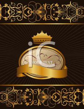 Royalty Free Clipart Image of an Ornate Crown Background