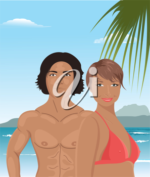 Illustration sexy girl and man on beach - vector