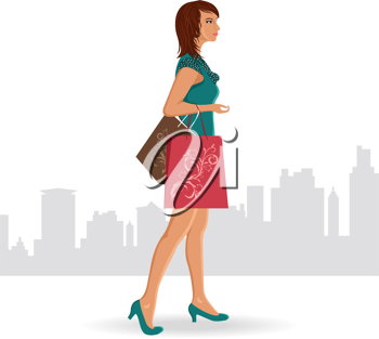 Illustration girl with purchases goes around city - vector