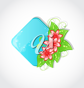Illustration bouquet flowers and place for text - vector