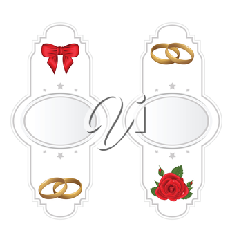 Illustration set wedding cards with rose, ring, bow - vector