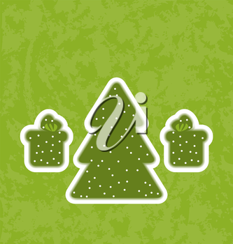 Illustration green paper cut-out christmas tree fnd gifts - vector