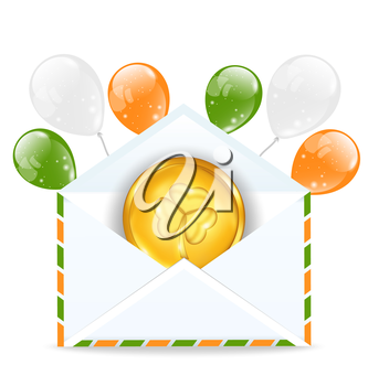 Illustration envelope with golden coin and colorful balloons for St. Patrick's Day - vector